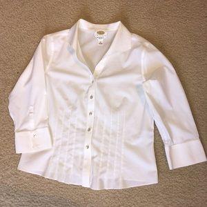 Talbots white pleated dress shirt